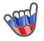 NO WORRIES Hand With Russia Russian Country Flag Motif External Vinyl Car Sticker 105x100mm